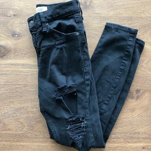 Topshop Jamie High Wasted Distressed Petite Jeans